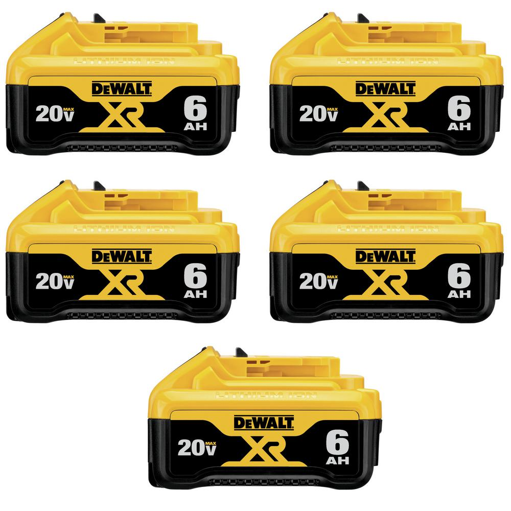 DEWALT 20-Volt MAX XR Premium Lithium-Ion 6.0Ah Battery Pack (5-Pk)