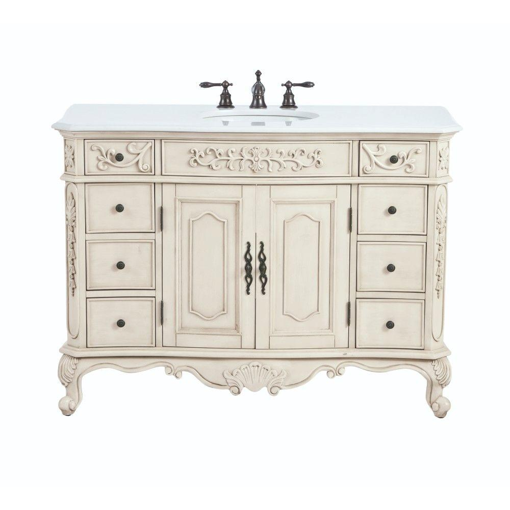 Home Decorators Collection Winslow 48 In. W Bath Vanity In Antique White  With Faux Marble Vanity Top In White 9466700410   The Home Depot