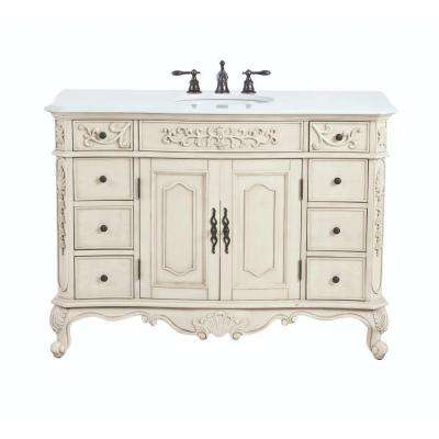 Winslow 48 in. W Bath Vanity in Antique White with Faux Marble Vanity Top in White