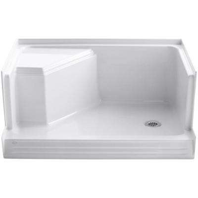 Memoirs 48 in. x 36 in. Single Threshold Shower Base with Integral Seat on Left in White