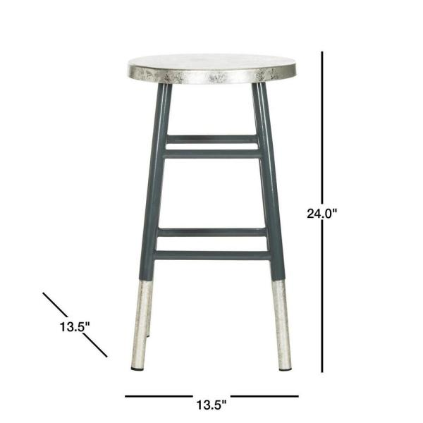 Safavieh Kenzie 24 In Gray Silver Dipped Counter Stool Fox3211d The Home Depot
