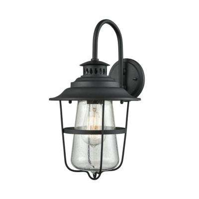 San Mateo 1-Light Textured Matte Black with Clear Seedy Glass Outdoor Wall Mount Sconce