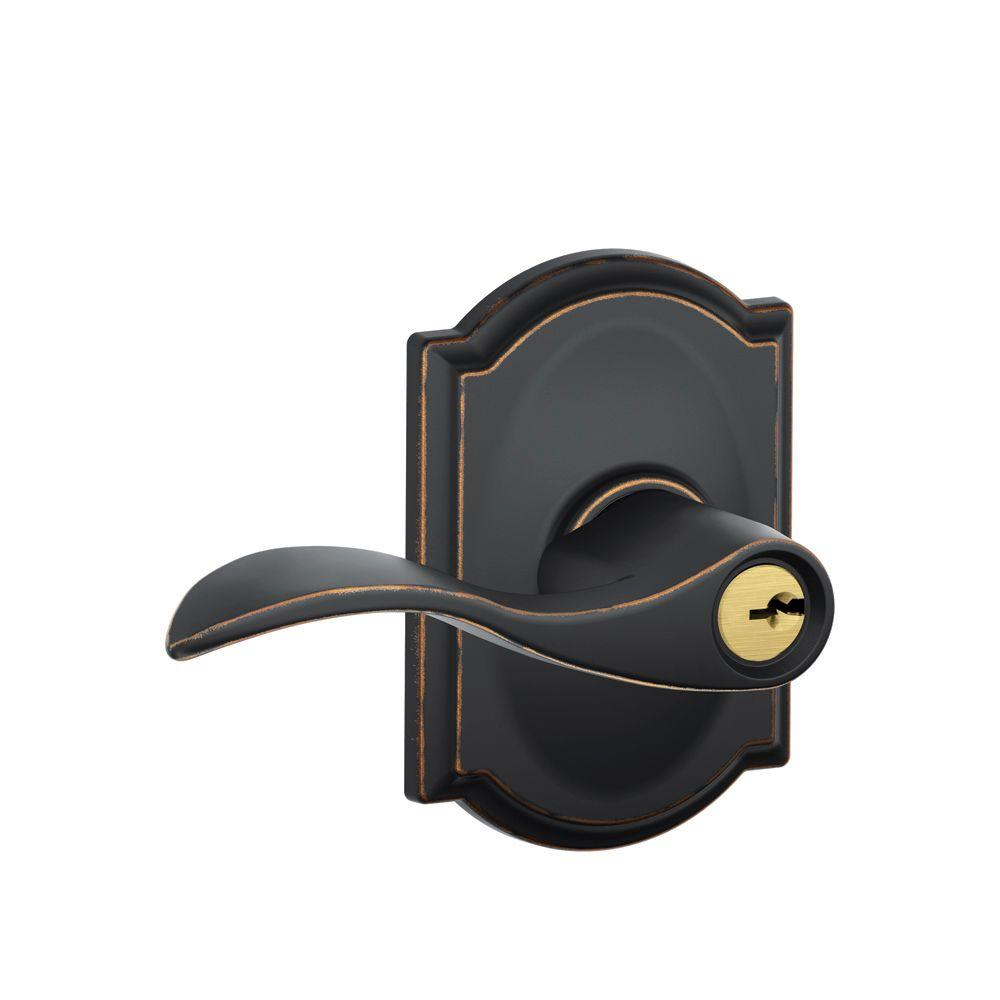 Schlage Camelot Collection Accent Aged Bronze Keyed Entry Lever-DISCONTINUED
