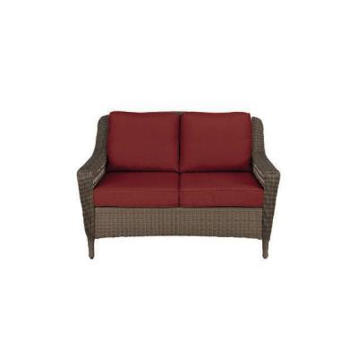 Spring Haven Brown Wicker Outdoor Patio Loveseat with Standard Chili Red Cushions