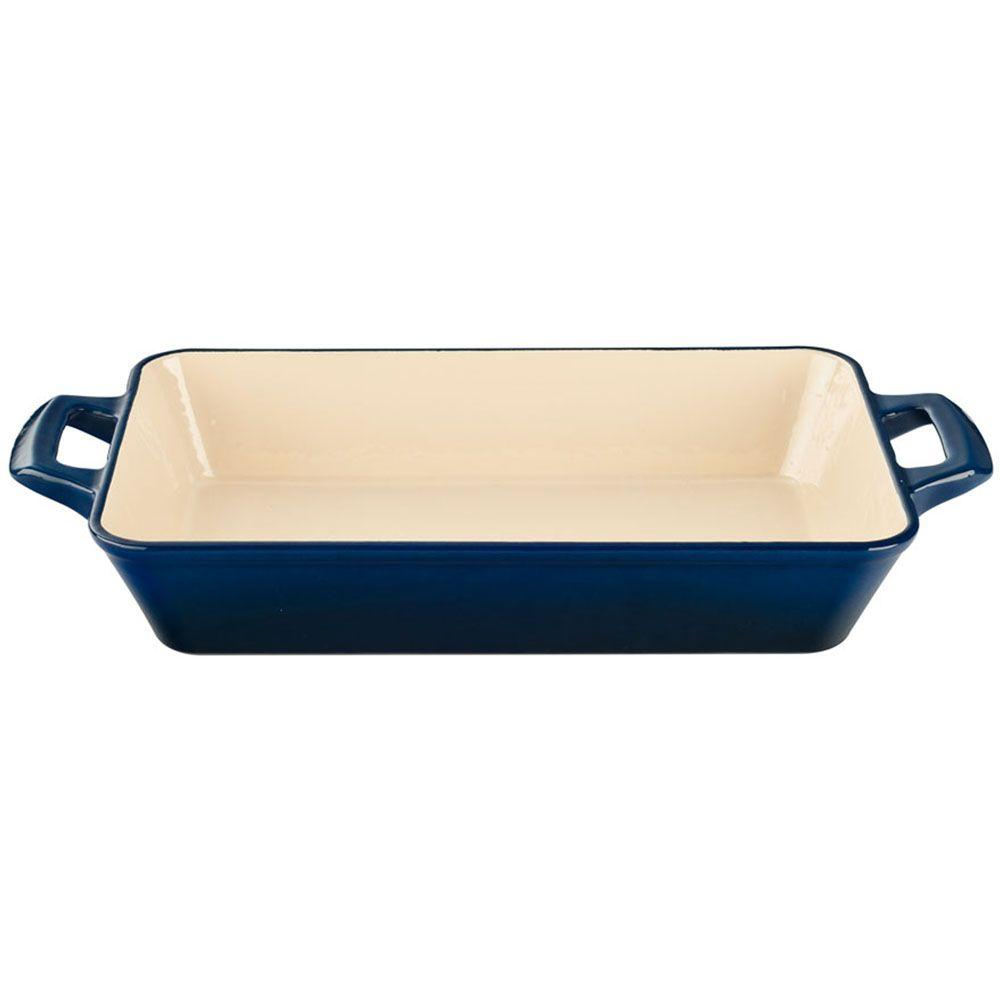 Large Deep Cast Iron Roasting Pan with Enamel Finish in Blue