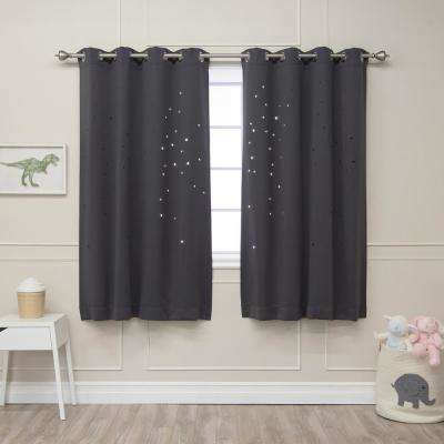63 in. L Star Cut Out Blackout Curtains in Dark Grey (2-Pack)