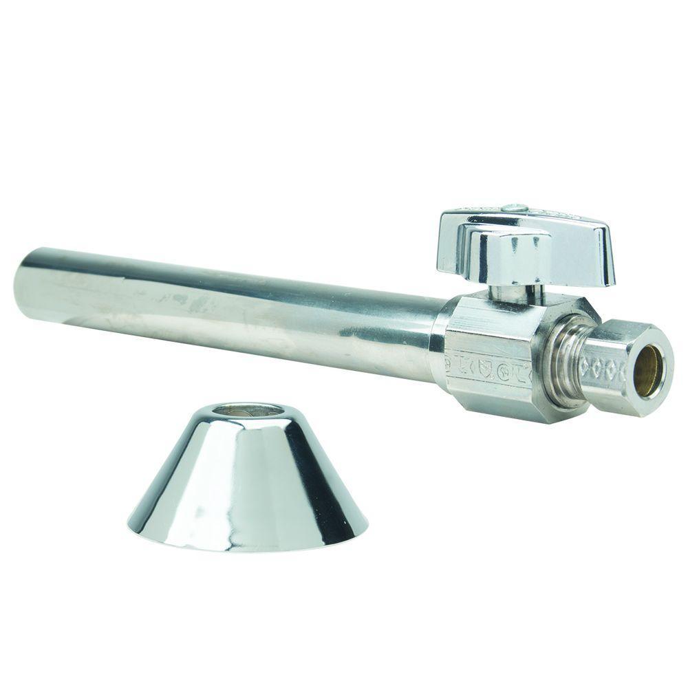 Brasscraft Toilet Kit: 1/2 inch Nom Sweat x 3/8 inch O.D. Comp 1/4 Turn Strt Ball Valve with 5 inch Extension, 12 inch... by BrassCraft