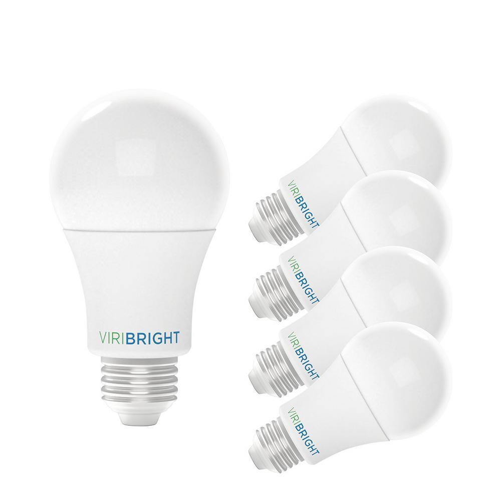 60-Watt Equivalent A19 E26 Base LED Light Bulbs in Cool White, 4000K (4-Pack)