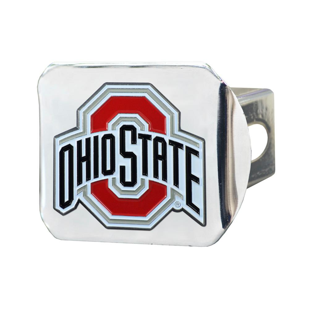 chrome with red trim on chrome METAL Hitch Cover THE Ohio State University METAL emblem
