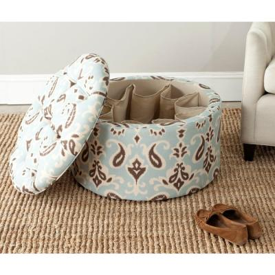 Tanisha Light Blue, White and Brown Storage Ottoman