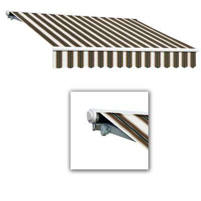 Galveston Semi-Cassette Right Motor Retractable Awning with Remote (120 in. Projection) in Burgundy/Forest/Tan Multi