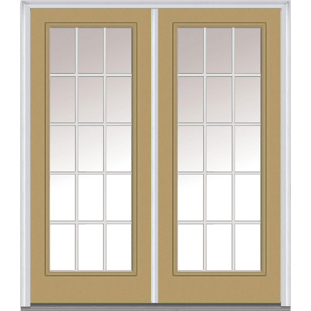 MMI Door 60 in. x 80 in. White Internal Grilles Right-Hand Inswing Full Lite Clear Glass Painted Steel Prehung Front Door