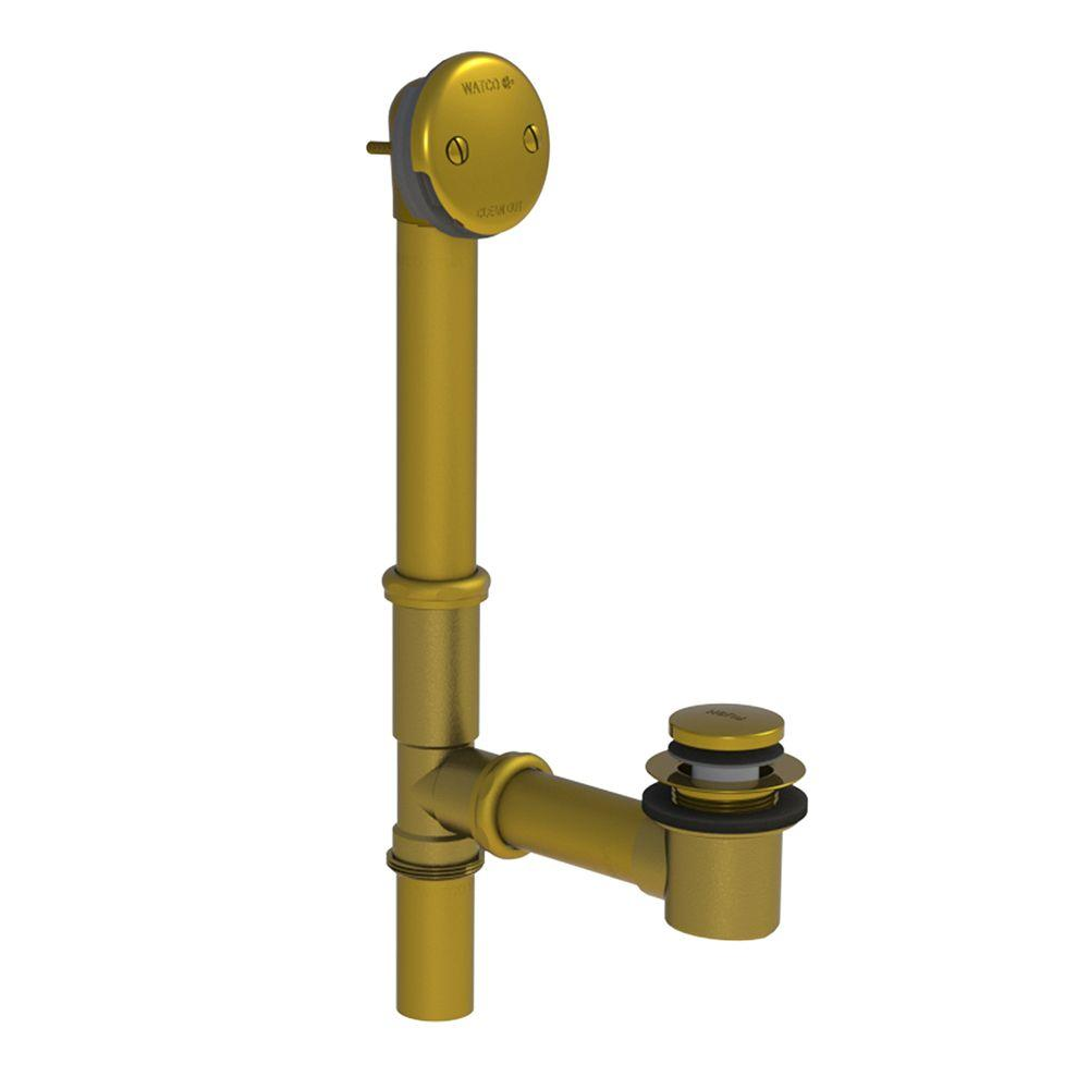 Watco 598 Series 24 in. Tubular Brass Bath Waste with Foot Actuated Bathtub Stopper, Polished Brass, Polished Brass Finish