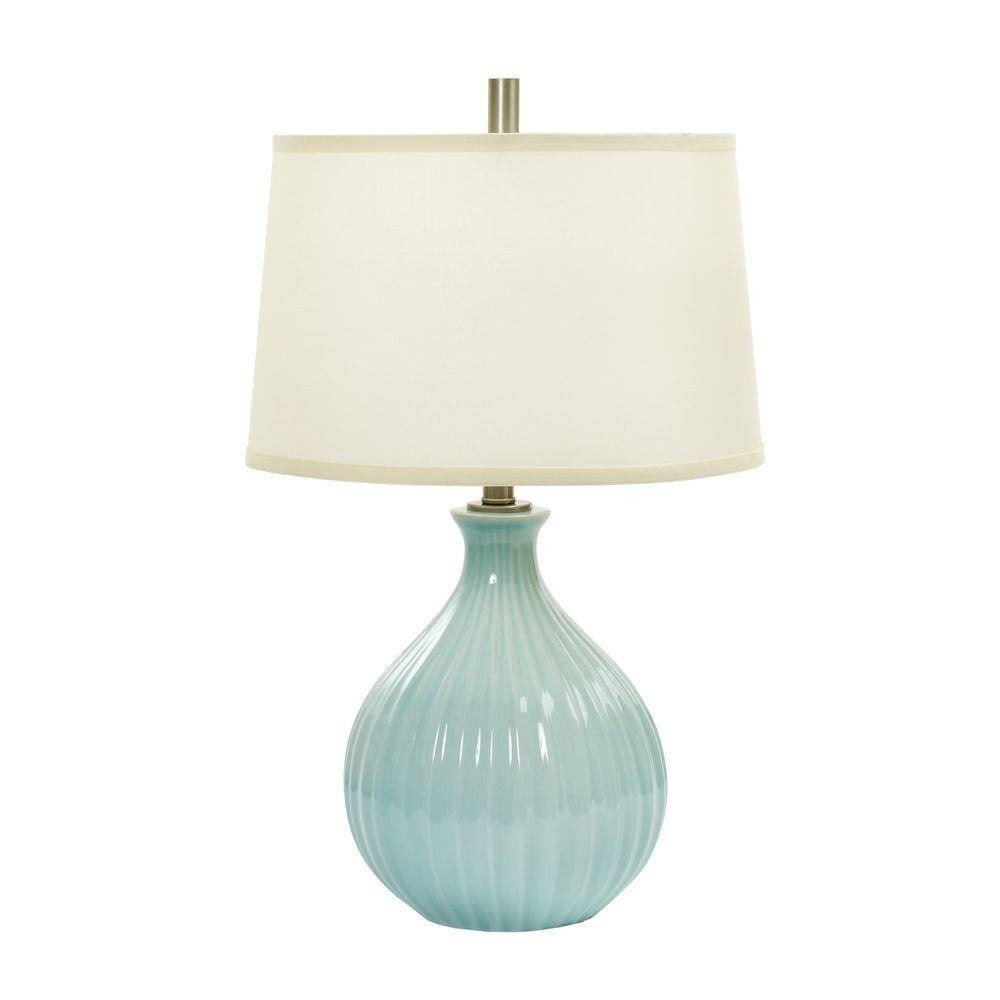 26 In Spa Blue Crackle Ceramic Table Lamp With Ripple Design W