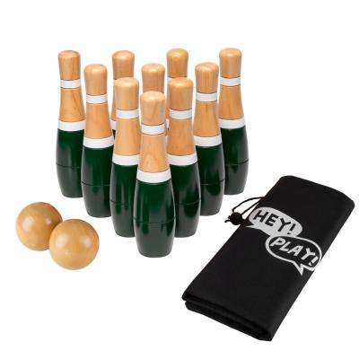 8 in. Wooden Green and White Bowling Lawn Game