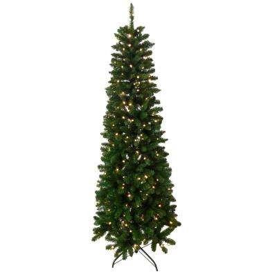 6.5 ft. Indoor Pre-Lit Slim Artificial Tree with Lights