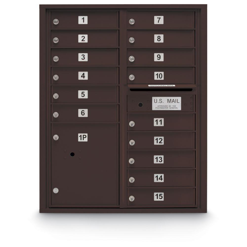 15-Door Standard 4-Compartment Front Loading Mailbox in Bronze