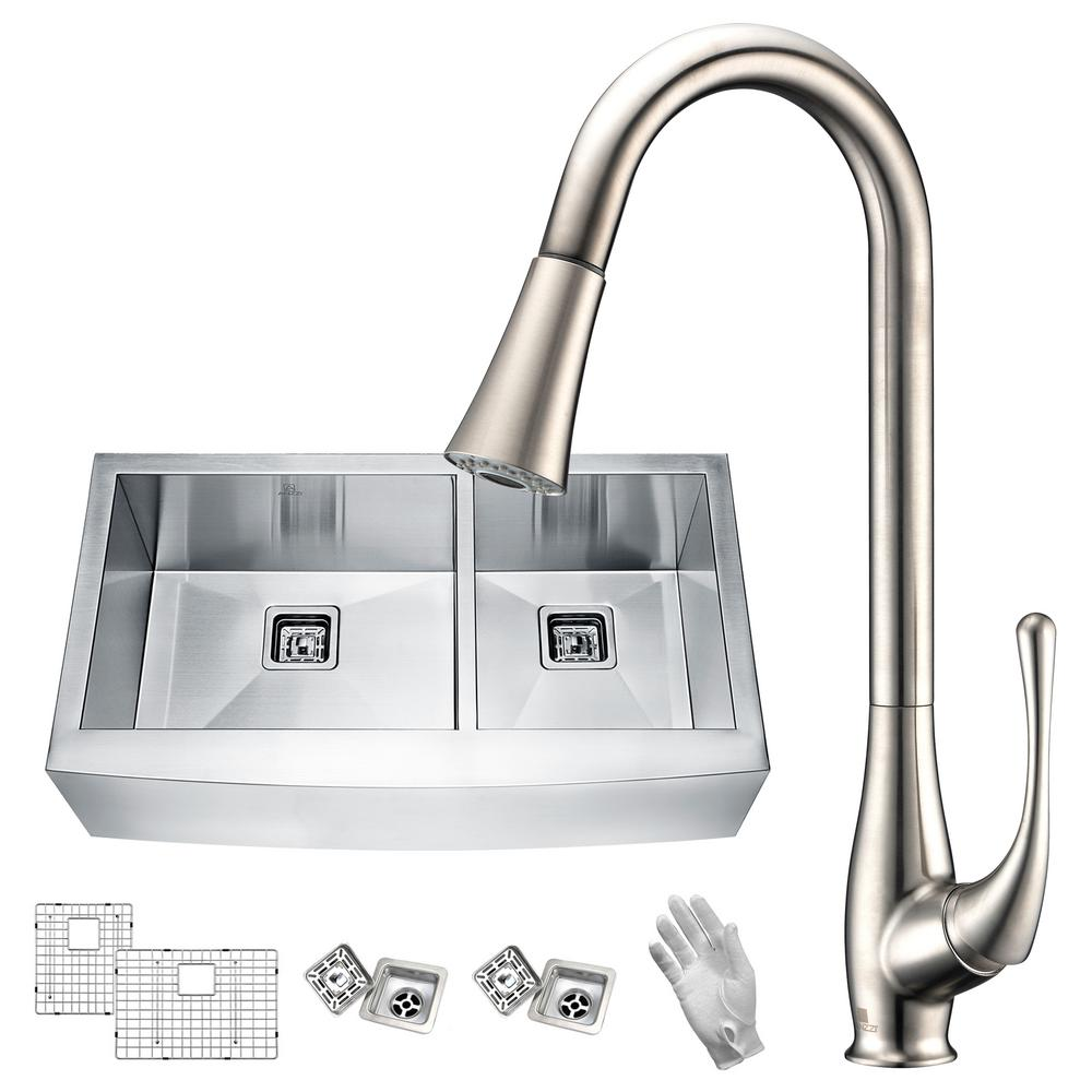 ANZZI Elysian Farmhouse Stainless Steel 36 In. 60/40