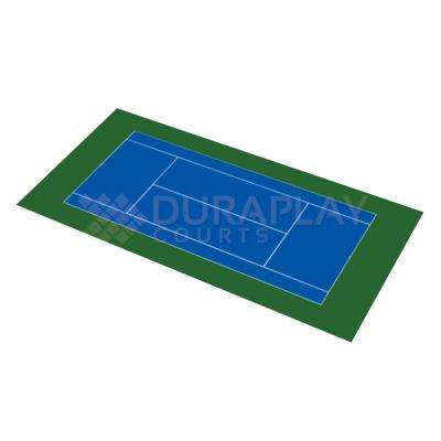 50 ft. 6 in. x 99 ft. 10 in. Royal Blue and Olive Green Full Tennis Court Kit