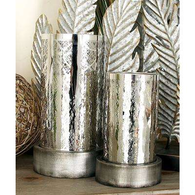 Silver Iron Tree Motif Round Hurricane Candle Holders (Set of 2)