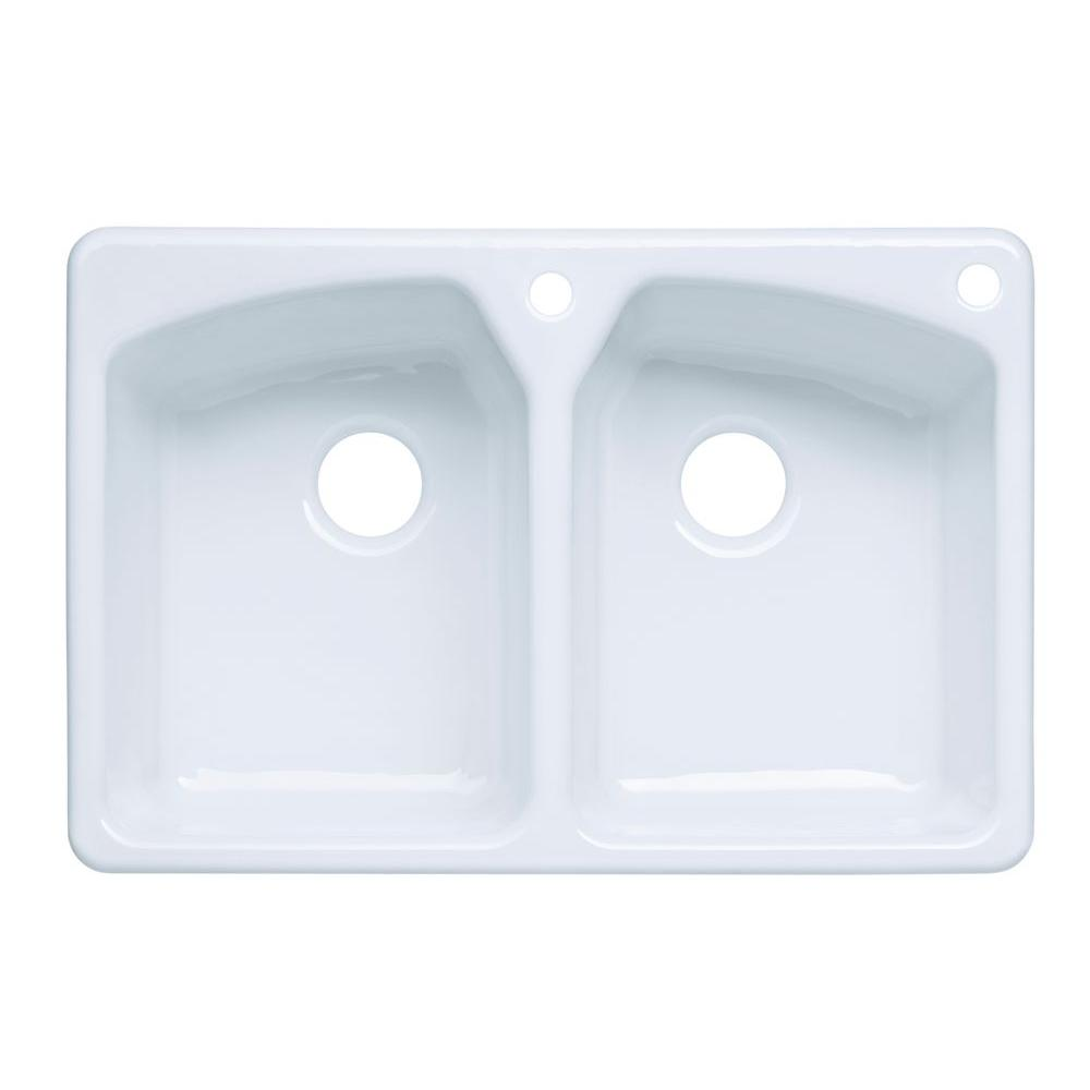 KOHLER Tanager Drop-In Cast-Iron 33 in. 2-Hole Double Bowl Kitchen Sink in White