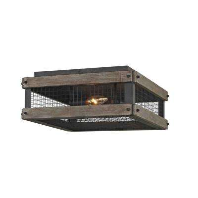 Mercado 3-Light Textured Bronze Flushmount with Metal Mesh Cover Wood Accent Panels