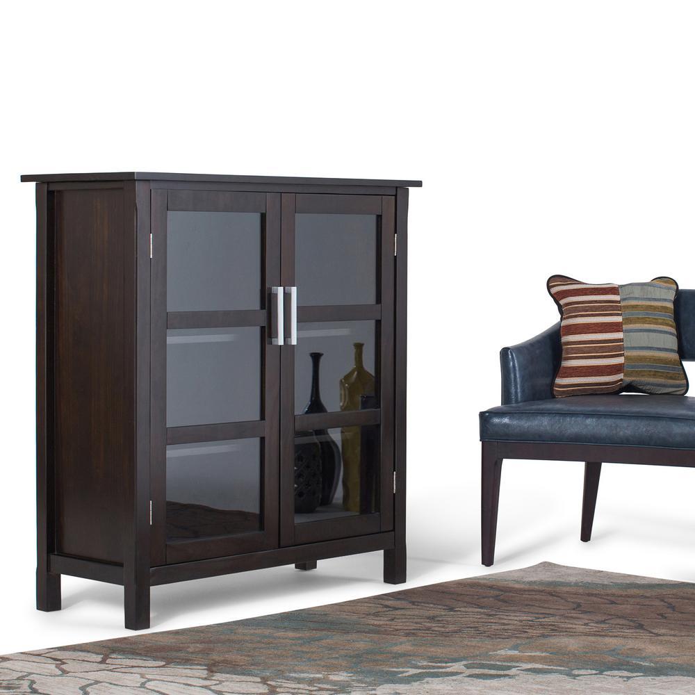 Simpli home kitchener walnut brown storage cabinet