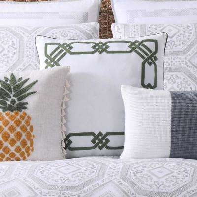 Sunwashed Isle Large Square Pillow in White and Green