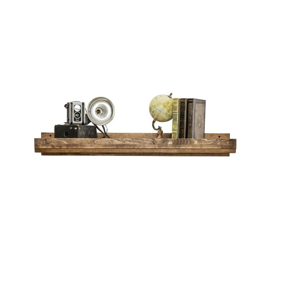 Rustic Luxe 36 in. W x 10 in. D Floating Dark Walnut Decorative Shelf