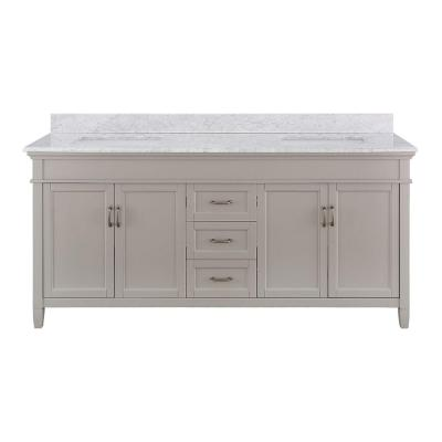 Ashburn 73 in. W x 22 in. D Double Bath Vanity in Grey with Marble Vanity Top in Carrera White
