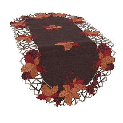 0.1 in. H x 16 in. W x 34 in. D Harvest Hues Embroidered Cutwork Fall Table Runner
