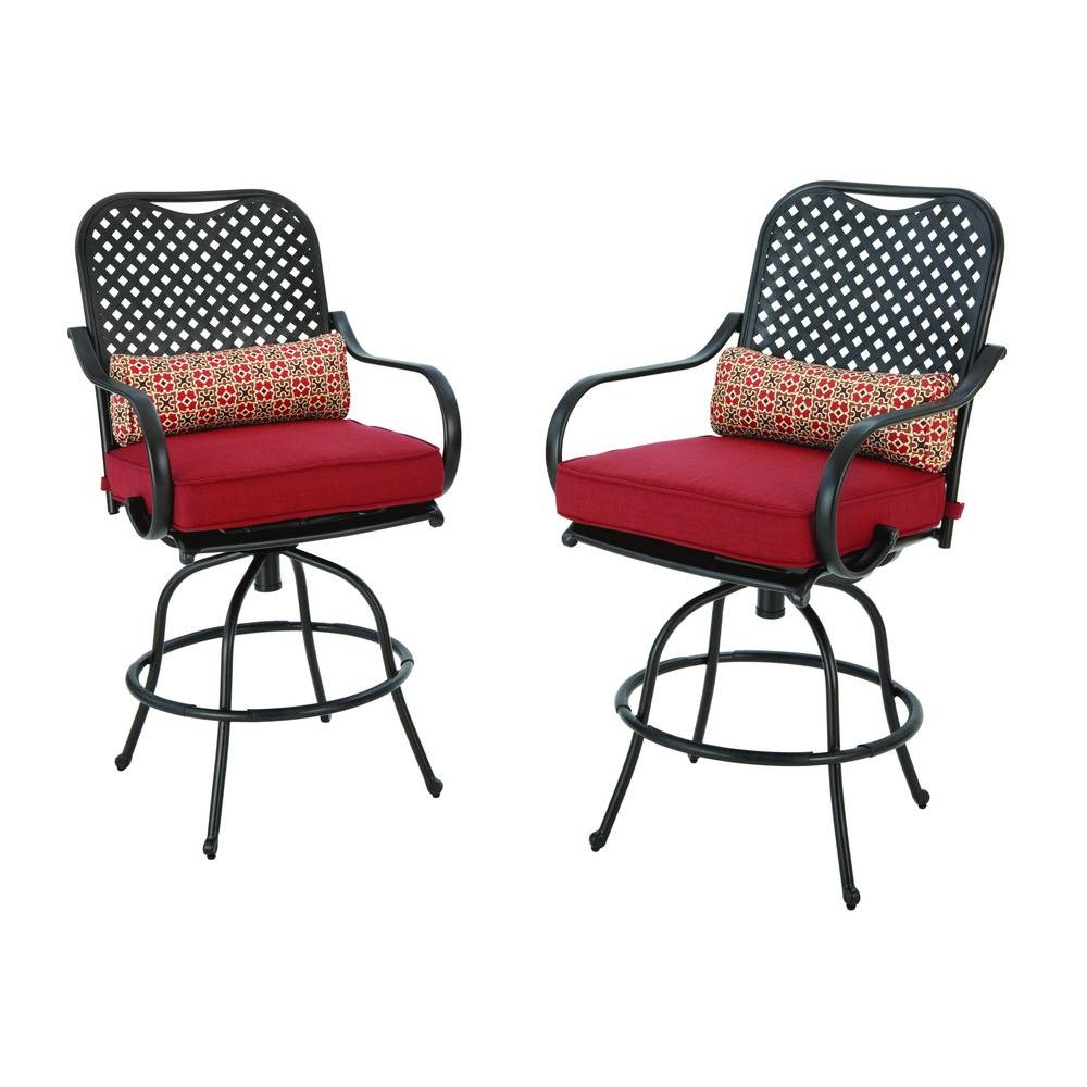 Hampton Bay Fall River Motion Bar Height Patio Dining Chair with Chili Cushion (2-Pack)