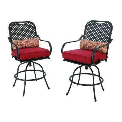 Fall River Motion Bar Height Patio Dining Chair with Chili Cushion (2-Pack)