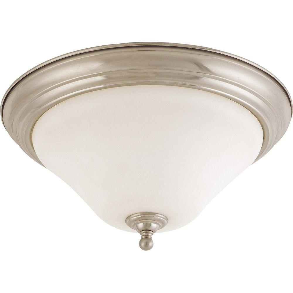 2-Light Brushed Nickel Flushmount with Satin White Glass