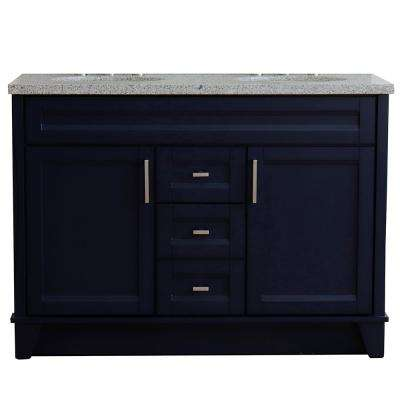 49 in. W x 22 in. D Double Bath Vanity in Blue with Granite Vanity Top in Gray with White Oval Basins