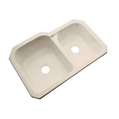 Cambridge Undermount Acrylic 33 in. 0-Hole Double Bowl Kitchen Sink in Candle Lyte