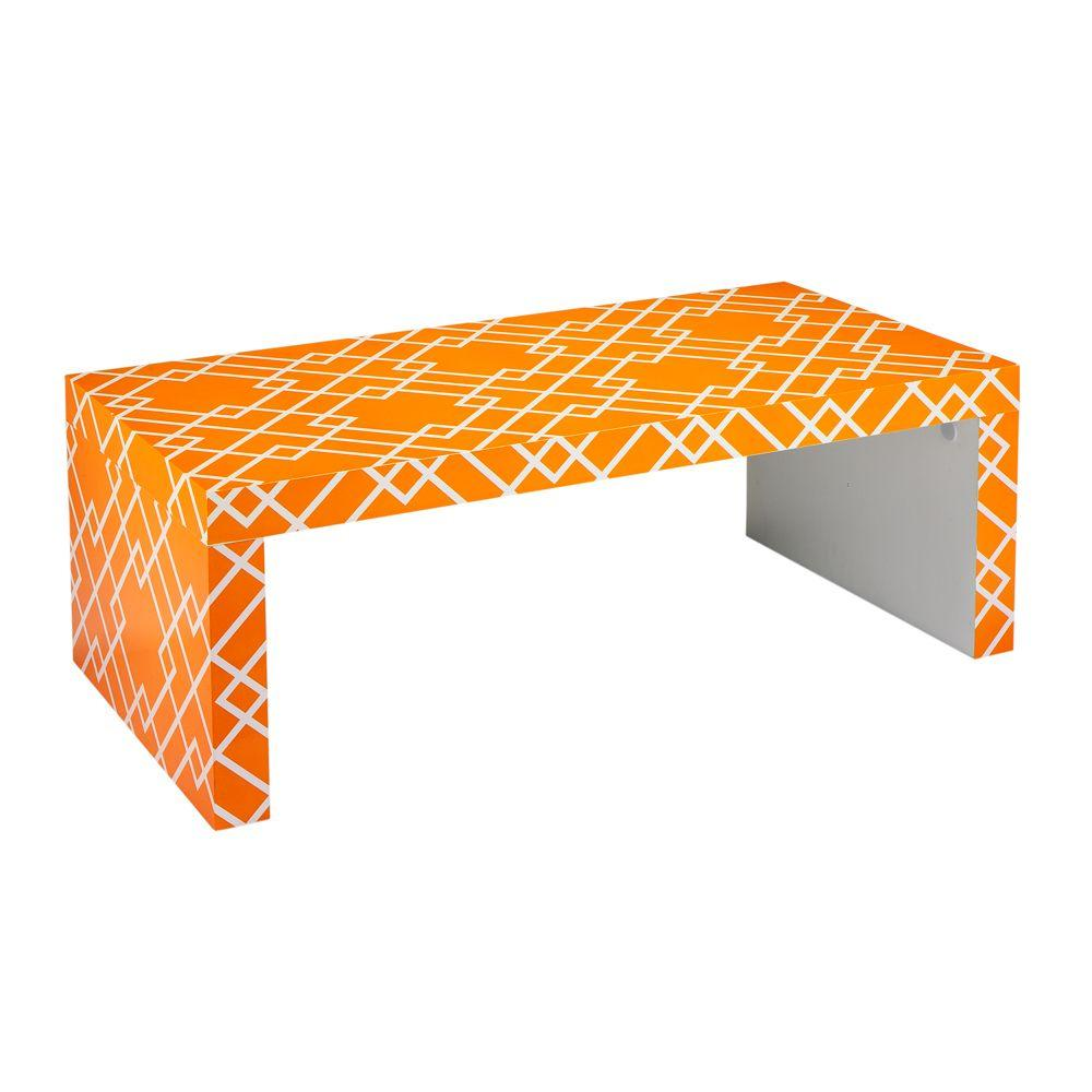 Home Decorators Collection 48 in. W Loft Orange Patterned Coffee Table