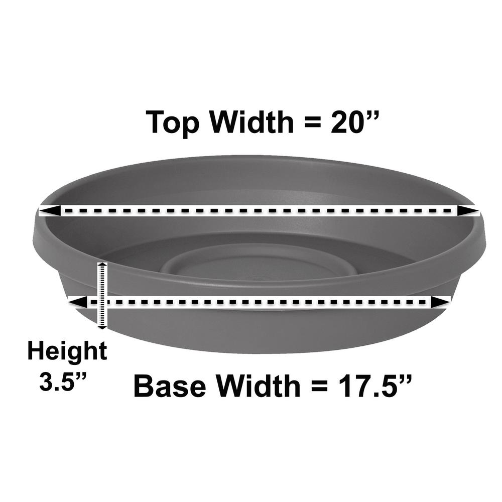 Bloem Terra Charcoal Plastic Plant Saucer Tray for Planters 17 in. to 24 in.