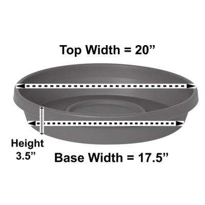 Terra Charcoal Plastic Plant Saucer Tray for Planters 17 in. to 24 in.
