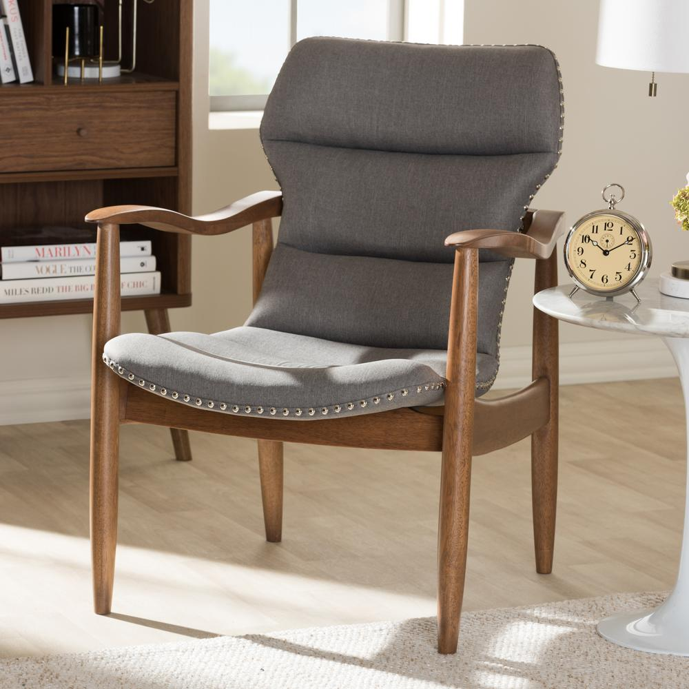 "Hadley Grey and ""Walnut"" Brown Fabric Lounge Chair"