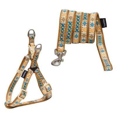 Medium Brown Caliber' Designer Embroidered Fashion Pet Dog Leash and Harness Combination