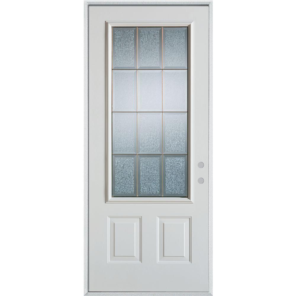 Stanley Doors 33.375 in. x 82.375 in. Geometric Glue Chip and Zinc 3/4 Lite 2-Panel Painted Left-Hand Inswing Steel Prehung Front Door
