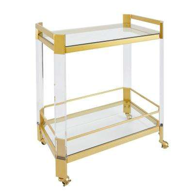 Huxley Clear Glass and Gold Bar Cart