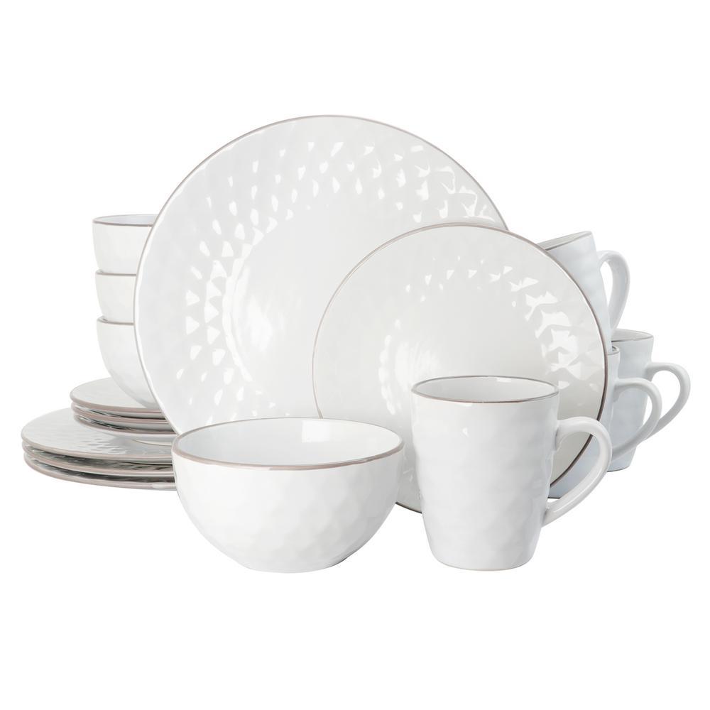 Medici Pearl 16-Piece White Dinnerware Set