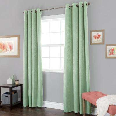 Blackout Mila Light Sage Polyester Black Out Curtain 54 in. W x 84 in. L