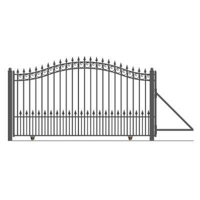 Prague Style 12 ft. x 6 ft. Black Steel Single Slide Driveway with Gate Opener Fence Gate