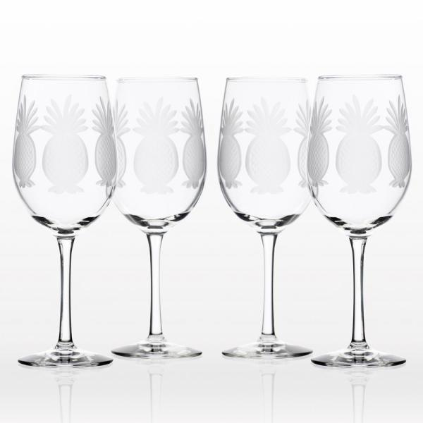 Rolf Glass Pineapple 12 oz. Clear White Wine Glass (Set of 4)