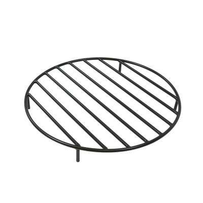 22 in. Round Black Steel Fire Pit Firewood Grate
