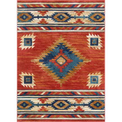 Tulsa Lea Traditional Southwestern Geometric Crimson/ Red 3 ft. 11 in. x 5 ft. 3 in. Area Rug