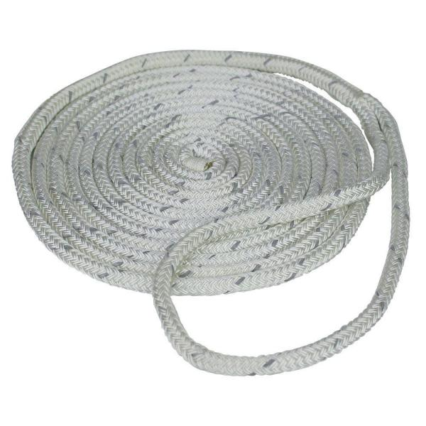 1/2 in. x 25 ft. Reflective Dock Line Double Braid Nylon Rope, White